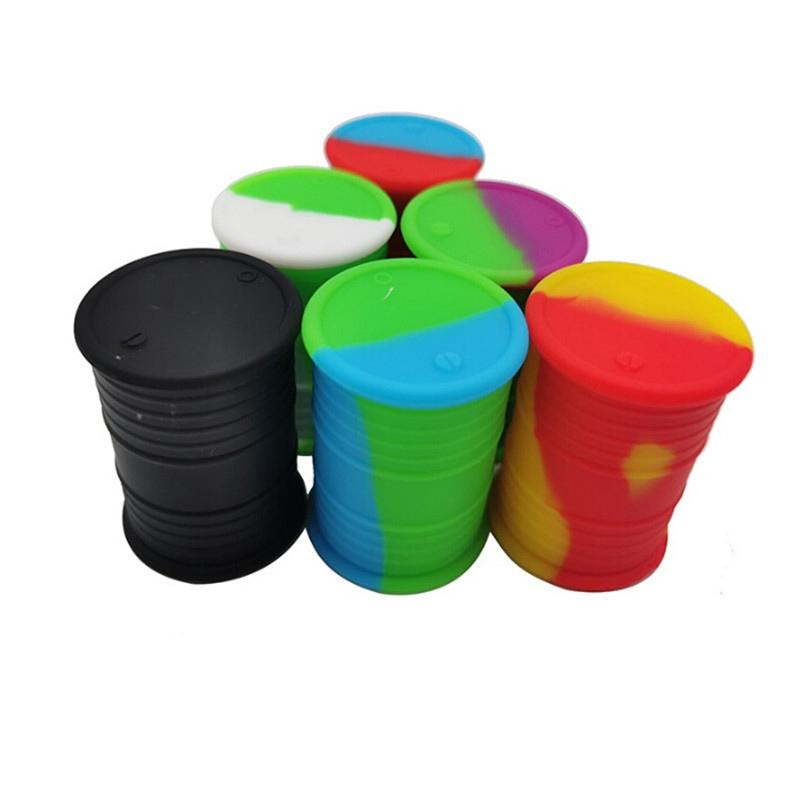 11mL Jar Food Grade Silicone Oil Barrel Container Jars Dab Wax Rubber Drum Shape Silicon Dry Herb Dabber Box