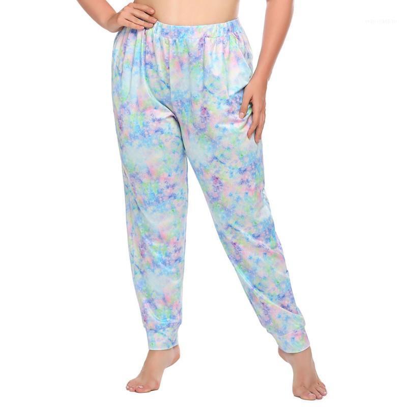 Pijamas Bottoms Europeia Americana Tie-tintura Impressão Calças de sono Personalidade Plus Size Casual Pijamas Loose Hot-selling Calças Z1