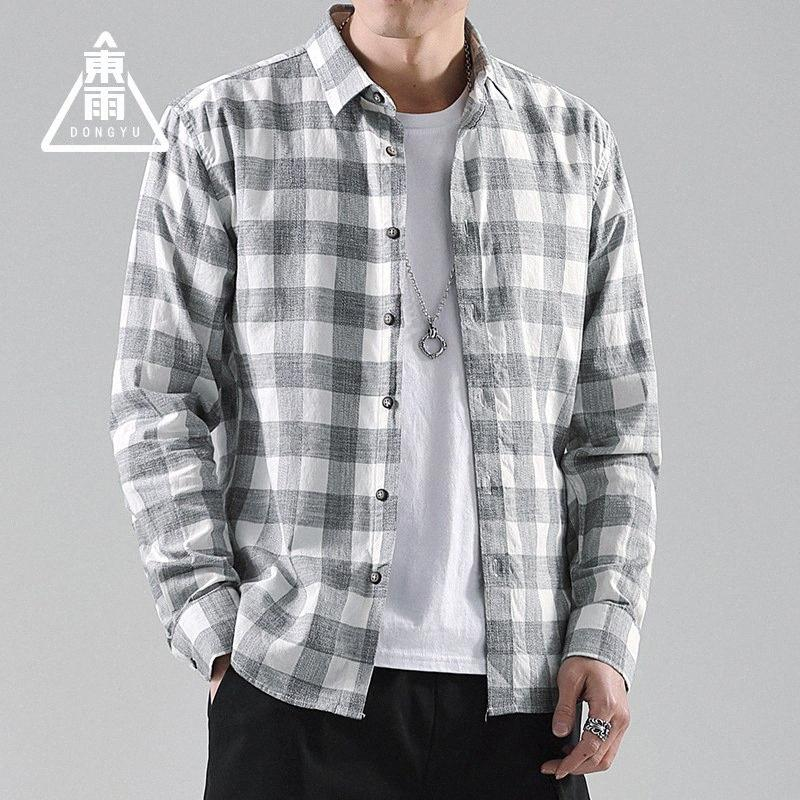 Camisas de caballero Invierno Nueva algodón de color de la tela escocesa ocasional delgada camisa de manga larga de los hombres eija #