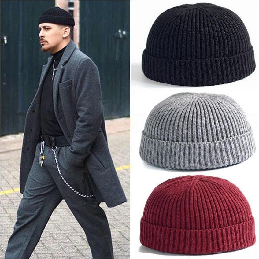 Moda Soğuk Şapka Adam Kış Sıcak Kap Kore Version Sokak Örme Yün Cap Kavun Deri Şapka Açık Gelgit Şapka Toptan 19 Renkler