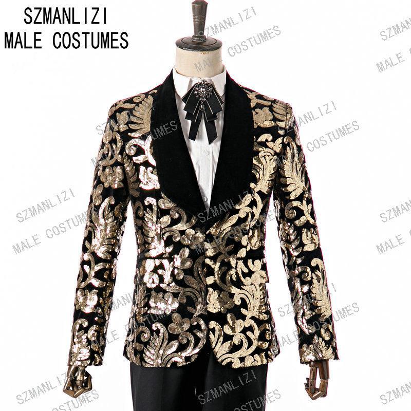 SZMANLIZI 2020 Costume élégant Hommes Costume Blazer Or Sequin Deux pièces en velours noir Lapel Slim Fit fête de mariage Groom Tuxedo