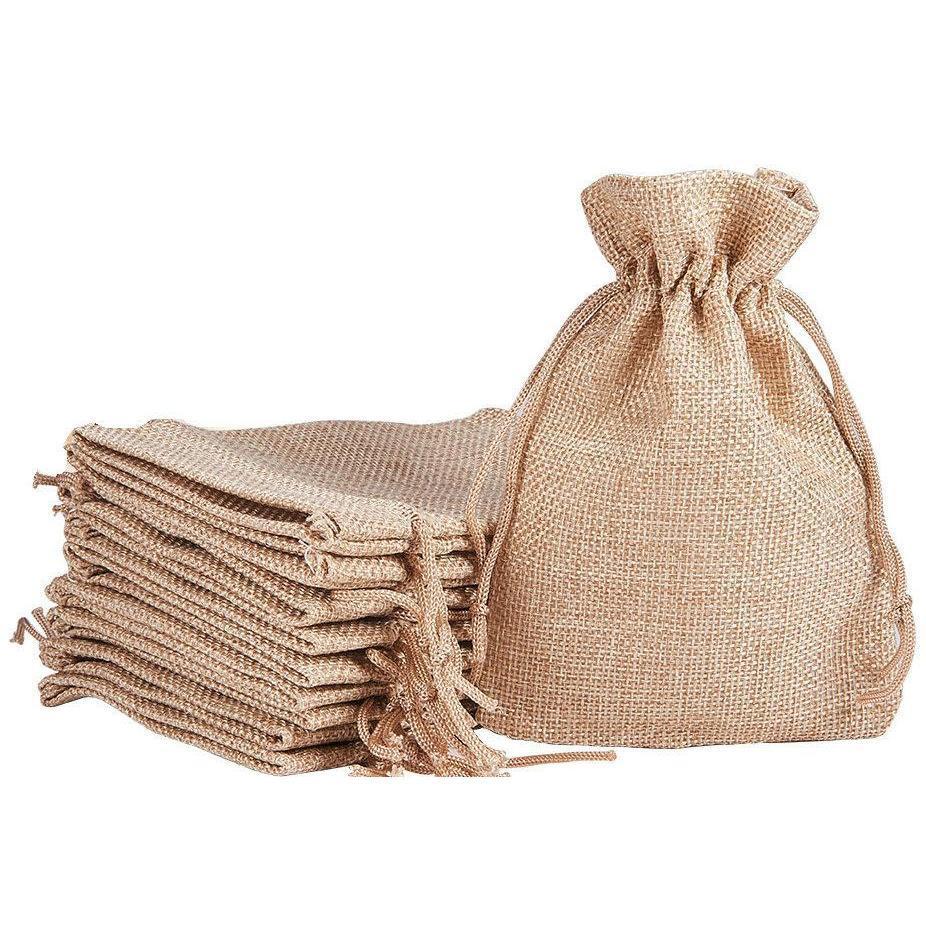 7x9 سنتيمتر 9x12 سنتيمتر 10x15 سنتيمتر 13x18 سنتيمتر الأصلي اللون البسيطة الحقيبة جوت حقيبة الكتان القنب مجوهرات هدية الحقيبة الرباط أكياس لحضور الزفاف، الخرز TFVR