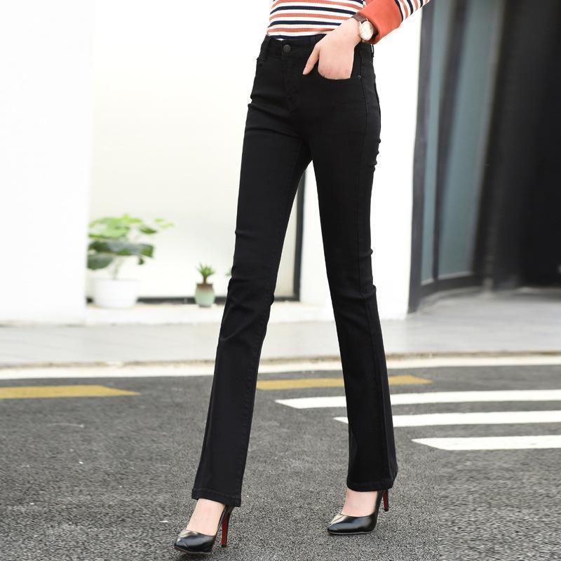 Pantalones QCQBI coreana Negro Largo Casual Jean Delgado Femme Oficina de señora Fashion de talle alto flaco Jeans Stretch coreana lápiz