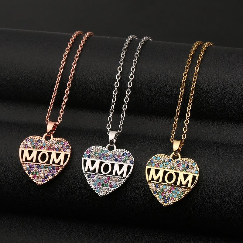 Fashion Colorful Mom Cubic Zirconia Heart Necklaces Letters Pendant Decoration Statement Necklace Jewelry for Women Gift for Mother's Day