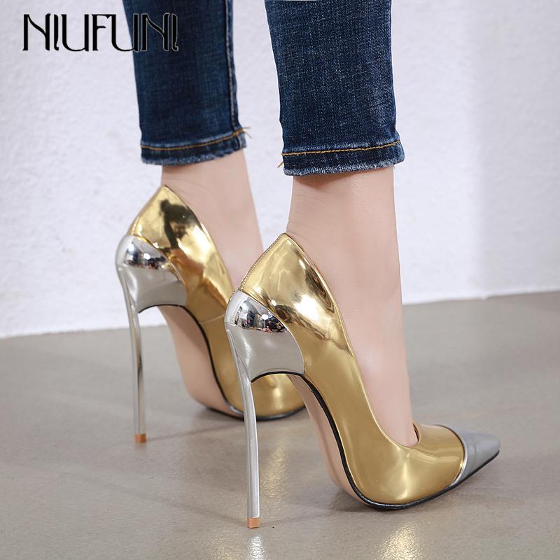 Niufuni Artı Boyutu Kadınlar Moda Yüksek Topuklu Pompaları Sivri Burun Glitter Ayakkabı Kadın Metal Topuk Stilettos Parti Elbise Pompaları C0202