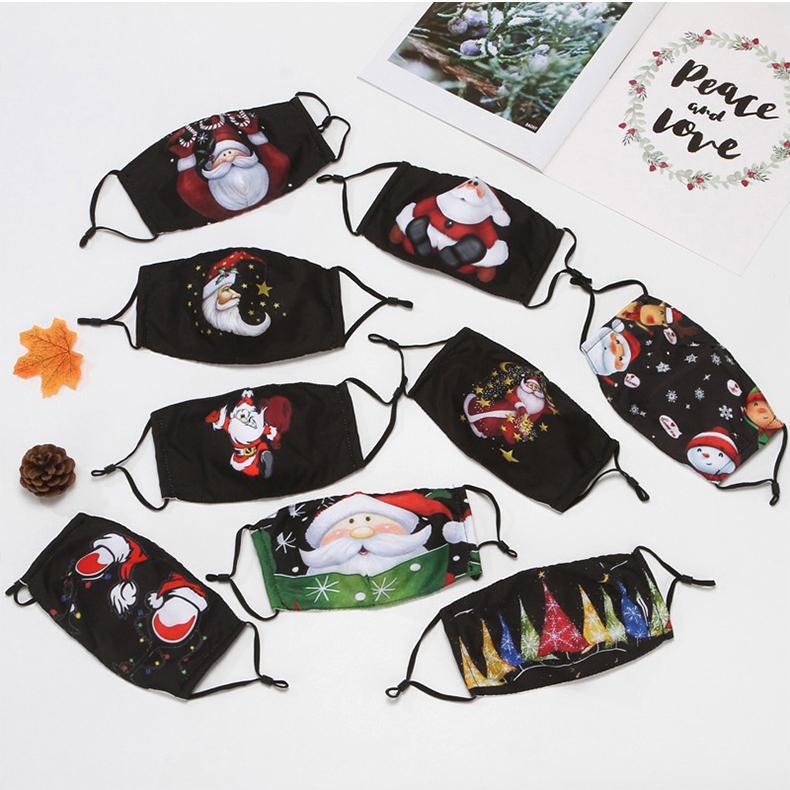 قناع عيد الميلاد سانتا كلوز طباعة الوجه قناع عيد الميلاد ديكورات الغبار ومكافحة الضباب يمكن وضع PM2.5 مرشح XD24107