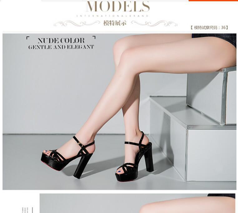 2021 Nouveau Design Mode Femme Haute talon Chaussures Bureau Dame Casual Casual Heel Sandals Black Silver Girls Sexy Chunky Wedge Taille 34-41 # P6
