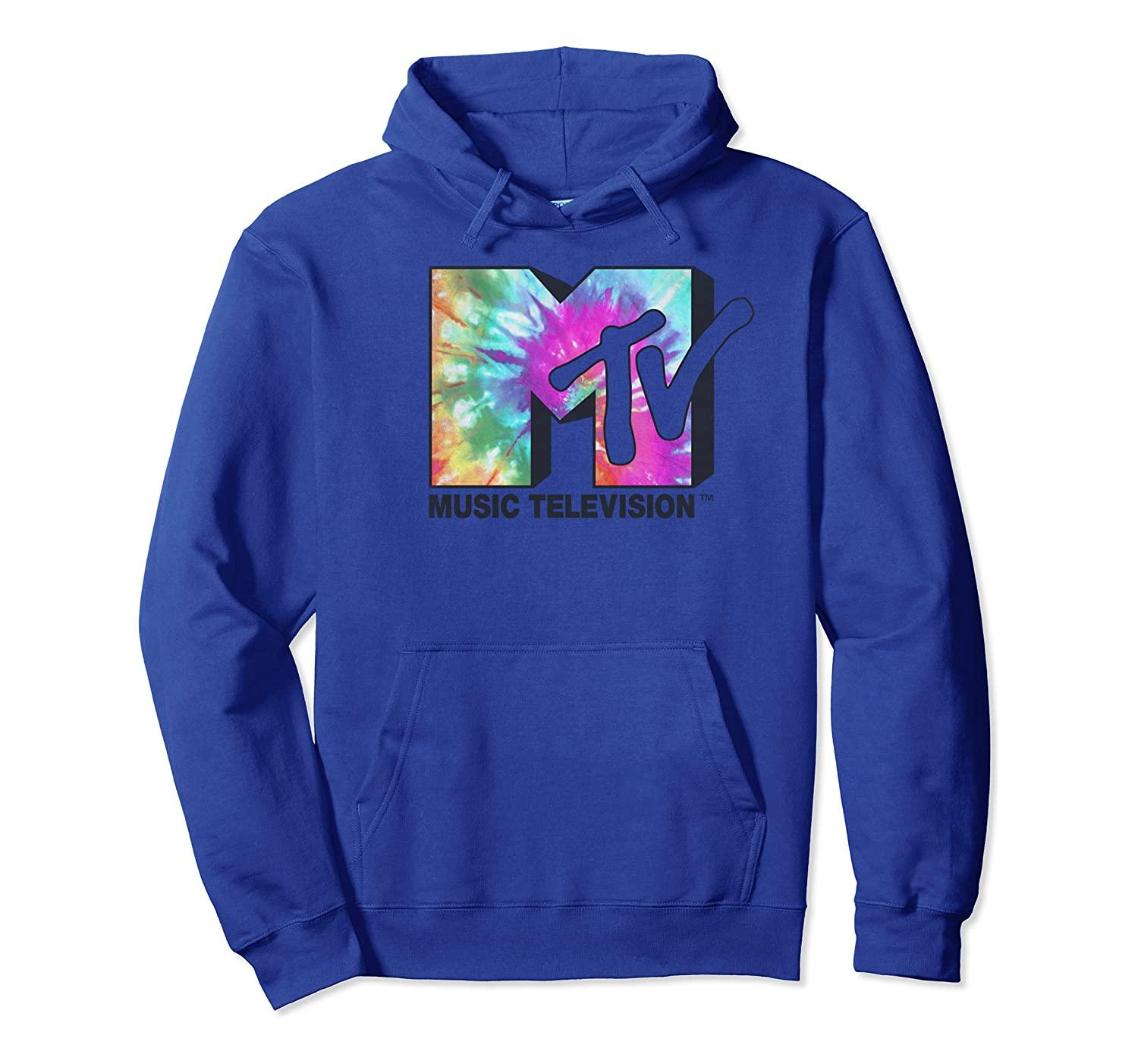 MTV Logo Classic Tie Dye Hoodie Unisex Size S-5XL with Color Black/Grey/Navy/Royal Blue/Dark Heather