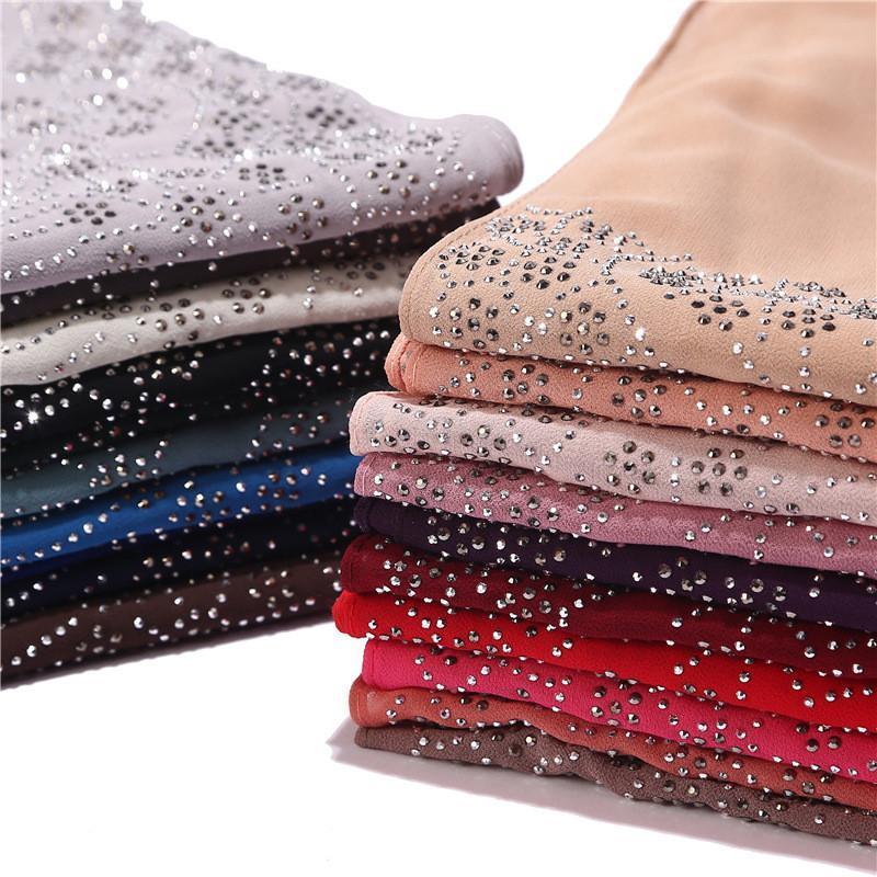 2020 НОВЫХ женщин горного хрусталь шифон сплошного цвета мусульманских головы шарф шаль и обертывание Бандана женщина Foulard хиджабов магазинов