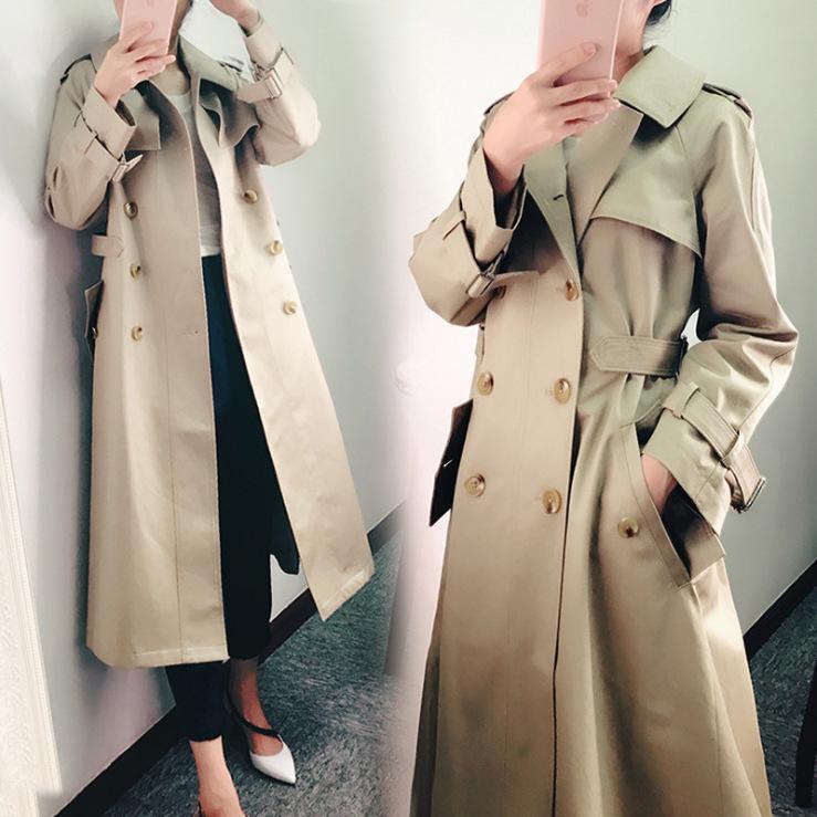 Outfit im Trenchcoat lang geschlossenen zeigen dünne Taille Han-Ausgabe Mantel zweireihige die Moral Kleid kultiviert