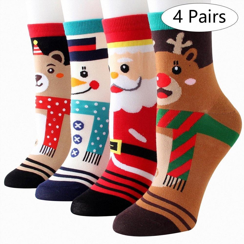 Christmas Holiday Casual Socken Bequeme Cartoon Cotton Socken Winter warm halten Weihnachtsbaum-Feiertags-Weihnachtsmann Lustige TRCI #