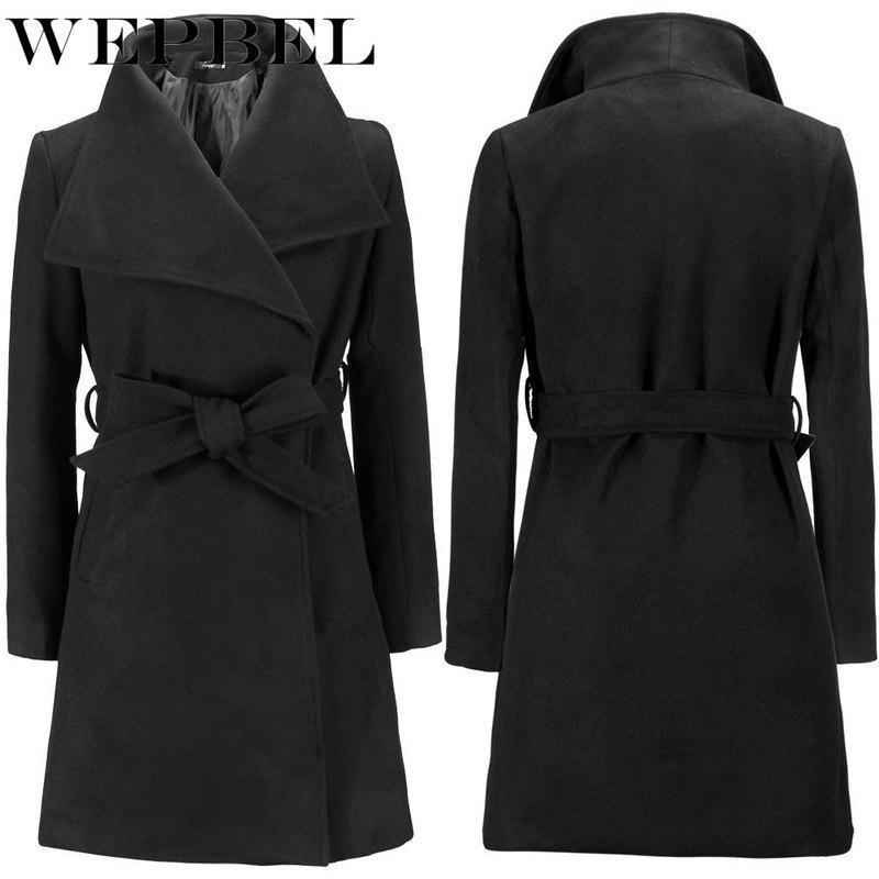 WEPBEL Womens Vintage Slim Trench Coats Lady Turn Down Peacoat Winter Woolen Coat Jackets Outerwear Plus Size 5XL