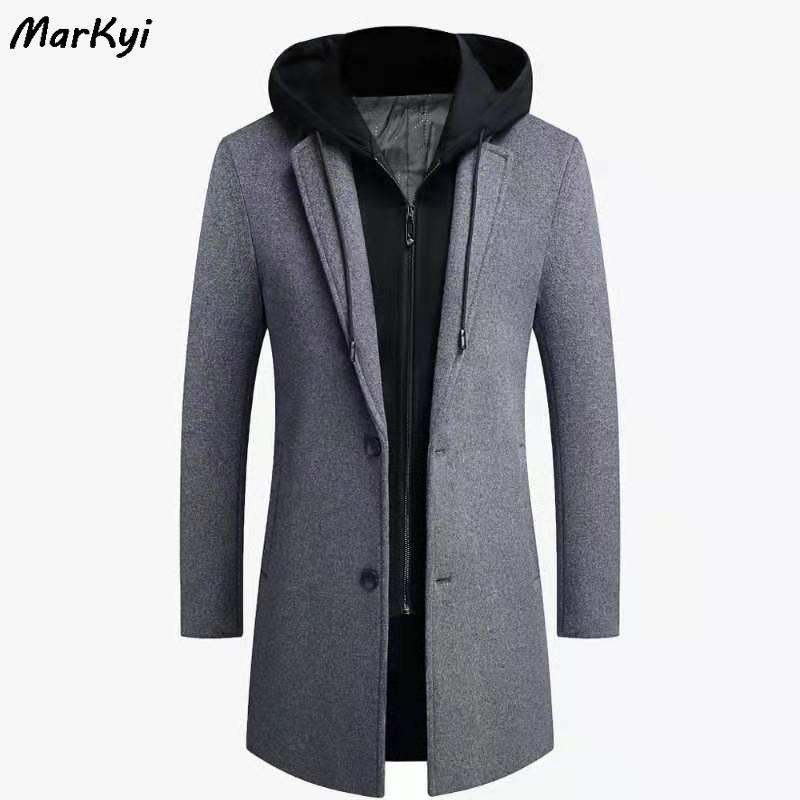 MarKyi 2020 Abrigo de invierno zanja larga hombres con tamaño 5XL falsificación dos de la cremallera de los hombres capa de las lanas de la capilla guisante Plus