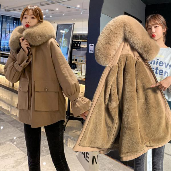 2020 autumn and winter new women's down padded jacket thickened plus velvet pie to overcome loose padded jacket women