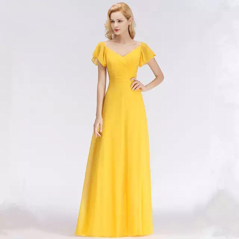 Envoltório mangas mãe amarela da noiva vestidos vestidos de noite convidado de casamento longo