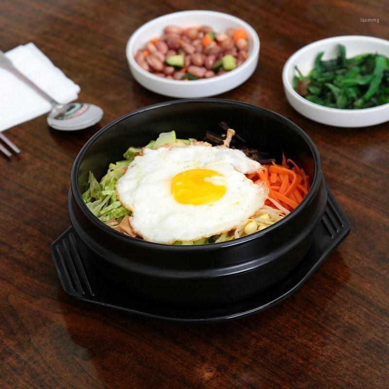 Wholesale-Korean Cuisine Dolsot Stone Bowl Earthenware Pot for Bibimbap Jjiage Ceramic With Tray Professional Packing1