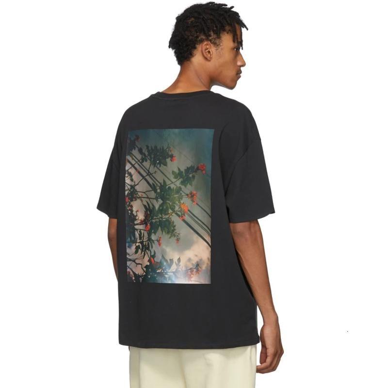 19fw 신 안개 하나님에 대한 두려움에 필수 꽃 사진 인쇄 된 티셔츠 남자 티 여성 패션 반팔 거리 힙합 여름 티 hfymtx603