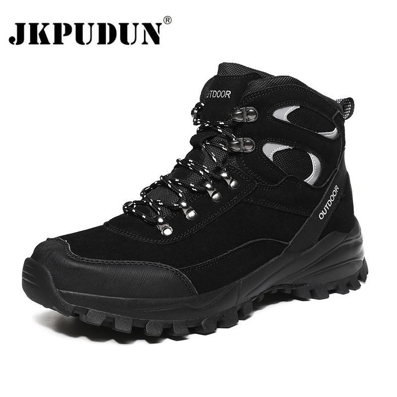 Couro Inverno tornozelo Homens calçados casuais impermeável ao ar livre Trabalho Tooling Mens Caminhadas Sneakers Militar quente botas de neve