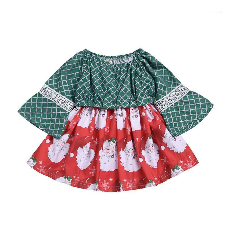 1-3Y Modyler Baby Маленькие девочки Рождественское Платье Длинные Широкие Кружевные Лоскутное Рукав Санты Печать A-Line Принц Платье1