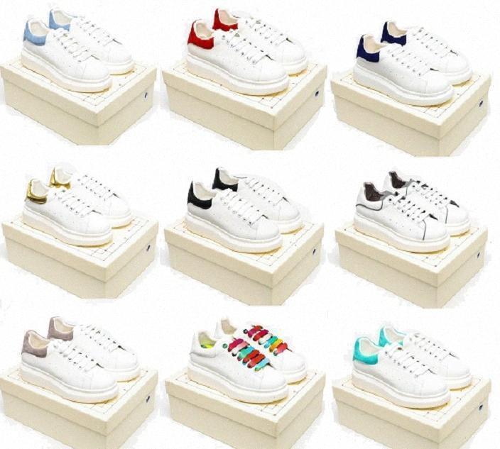 2021 CLÁSICO DESIGNER COLORES 2021 Sneaker de gran tamaño Grueso Espátrilla Alto Plataforma Hombre de encaje blanco Zapatos de mujer Suede Flat Sneak 0E1C #