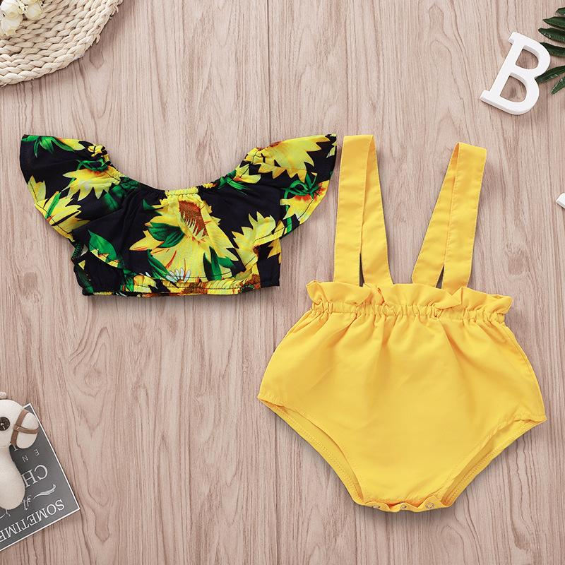 2 stücke Babykleidung Sonnenblume Mode Bogenknopf Säuglingsdruck Kinderjacke Strampler Mädchen Kleidung Sets Sommer 25xh K2