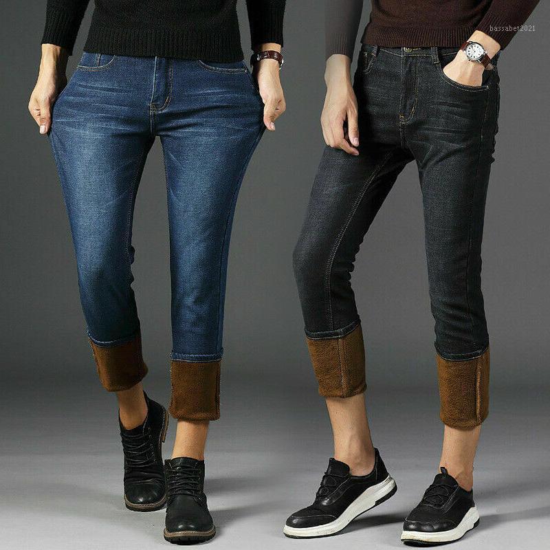 Mens d'hiver Denim Pantalon Jeans Polaire doublé chaleureux Pantalons de jambe droite épaissir le pantalon long et la taille NYZ Shop1