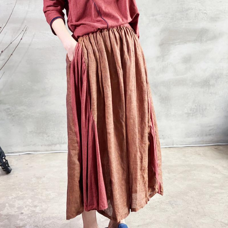 Johnature vintage patchwork jupes plissées pour femmes coton lin elastic taille 2020 nouvel été doux lâche femme jupes1