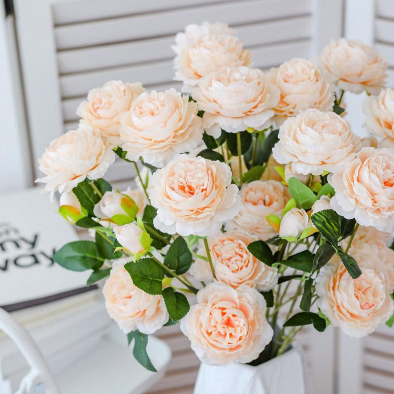 10pcs 3Heads Pivoines Fleurs Artificial mur européen Soie Fausse fleur de mariage Décoration Accessoires Pivoine Bouquet