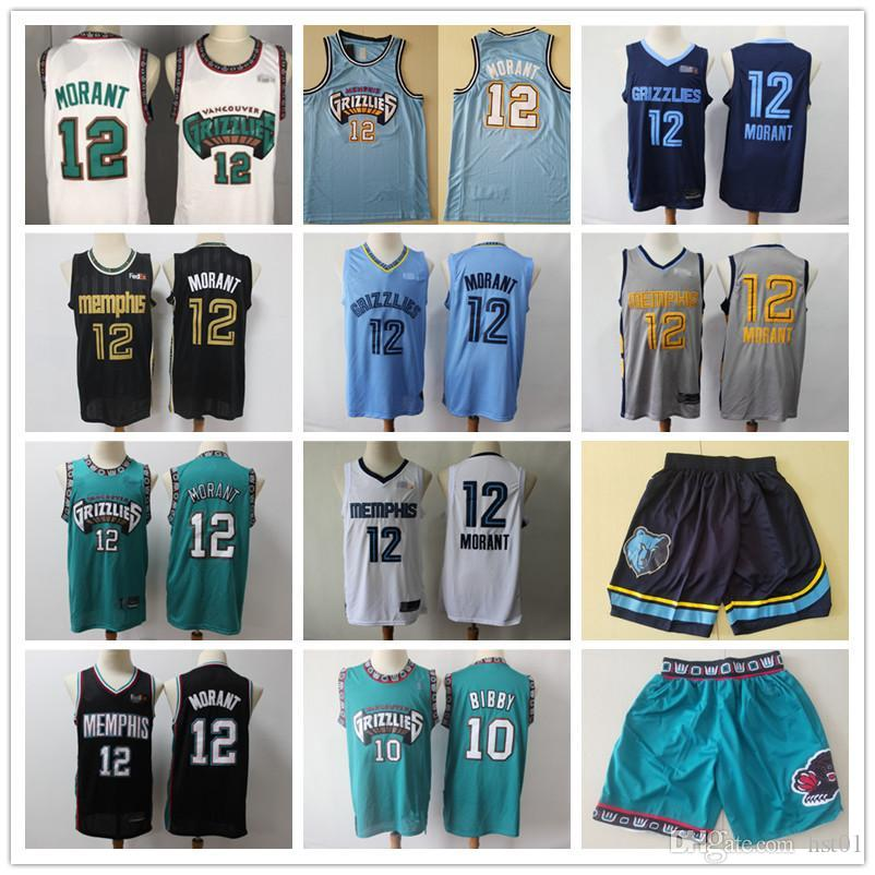 De los hombresMemphisGrizzliesJersey Bryant 50 Reeves Mike 10 Bibby Ja 12 Morant Shorts Shorts Basketball Jerseys Green B