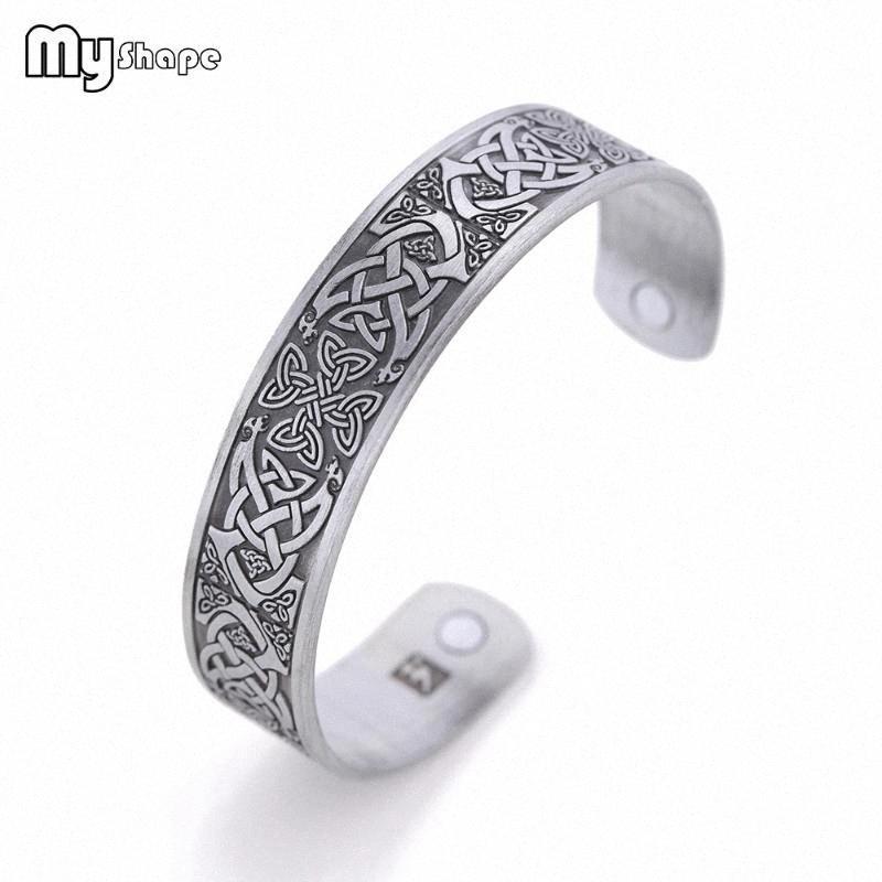 Meine Form Gesundheit Magnetic Irish Knot Armbänder antike silbrige Stulpe-Armband Französisch Kreuz Männer Jahrgang Gravierte Schmuck Accessoires sF9g #
