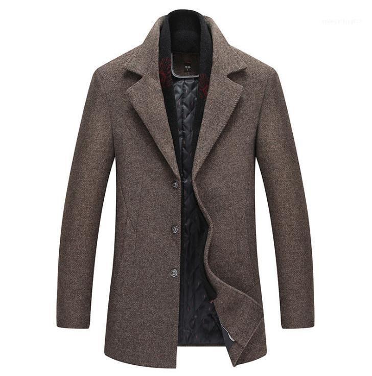 Mezclas de lana para hombres Capa de moda de alta calidad Slim Fit Jackets para hombre Color Puro Casual Cálido Outerwear Chaqueta y hombres PEA1
