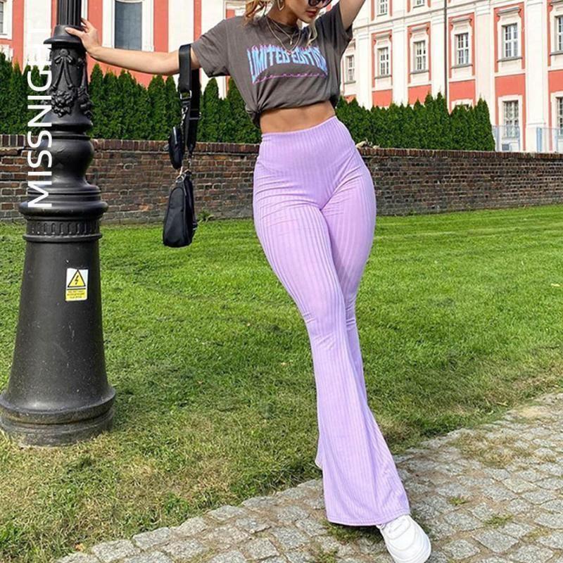 Женские брюки CAPRIS Missme сладкий вязаный ребристый ребристый вспышка Slim Striped Bodycon высокие талии брюки винтаж1