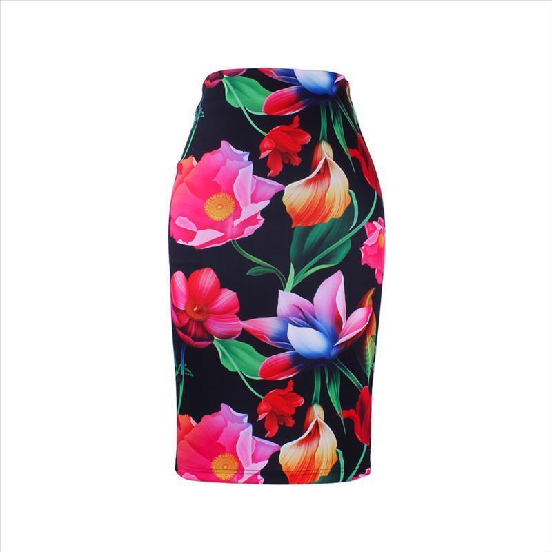 Хорошее качество Женщины-карандашные юбки S-4XL Случайный Lady Midi Saias Женский Faldas Fashion 3D Цветок Печать Девушки Тонкие днища Оптом