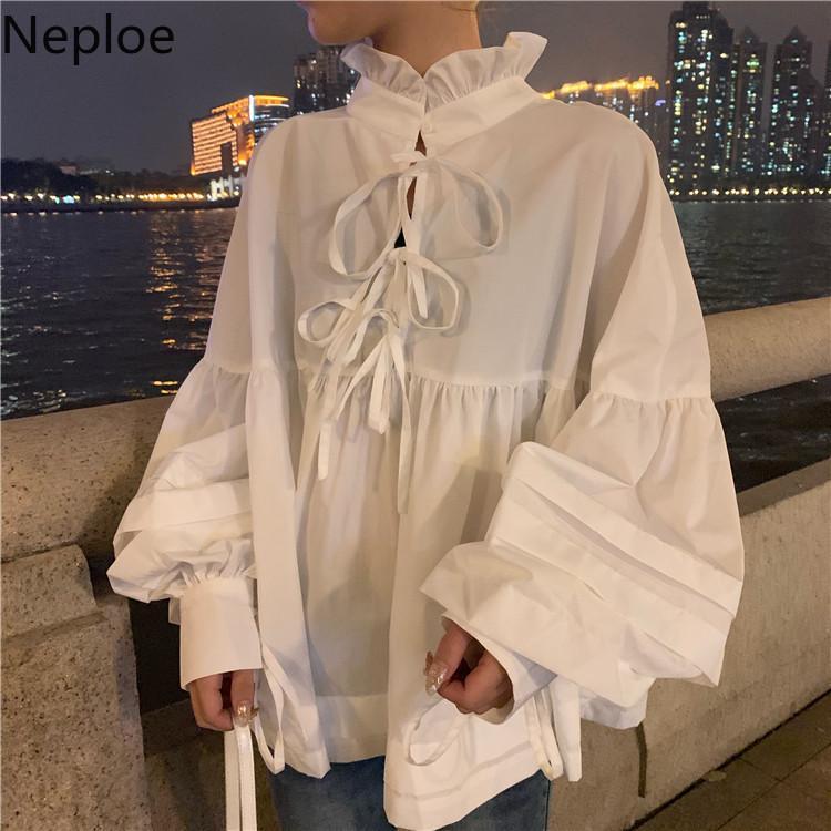 Neploe dolce stand collo Bambola camicia femminile autunno coreana Puff manica Camicetta Croce Lace Up Bianco Black Women Top Blusas 53501 201012