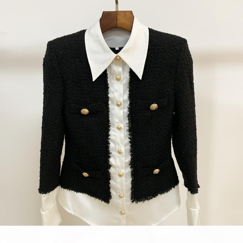 HIGH QUALITY 2020 Newest Fashion Designer Jacket Women's Lion Buttons Satin Wool Blend Patchwork Tweed Jacket
