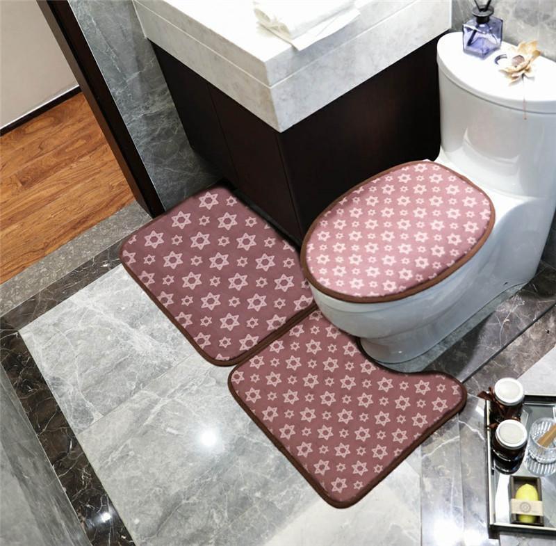 Gato Imprimir letra Baño Mats Estrella y raya Impresión Europa y América Baño de moda Asiento de inodoro Matera de la puerta del dormitorio de 3 piezas