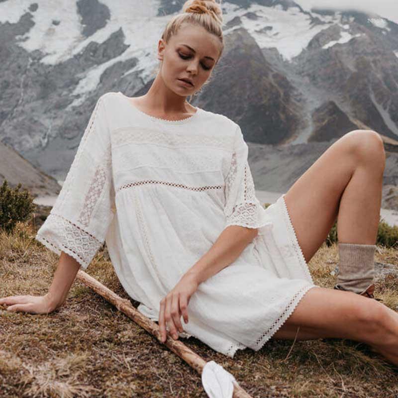 BOHO Inspired Bianco Tunica Dress per le donne Pannello in pizzo Casual Summer Dress Casual Cotton Allent Mini Boho 2020 Femal1