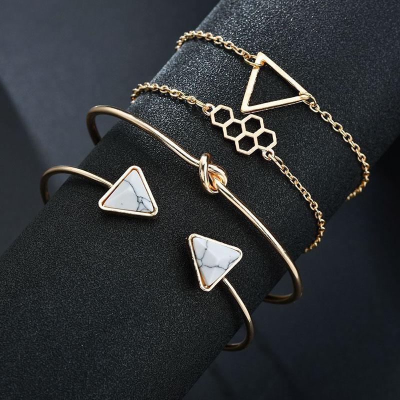 Regalos BraceletsBangles escuadra de dibujo oro para las mujeres de acero inoxidable pulseras de cristal de joyería de la pulsera personalizada BT200027