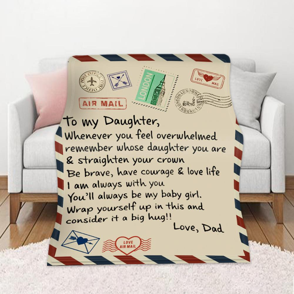 Autumn Winter Warm Sofa Cover Message Envelope Printing Double-sided Flannel Air Conditioning Blanket 182Y