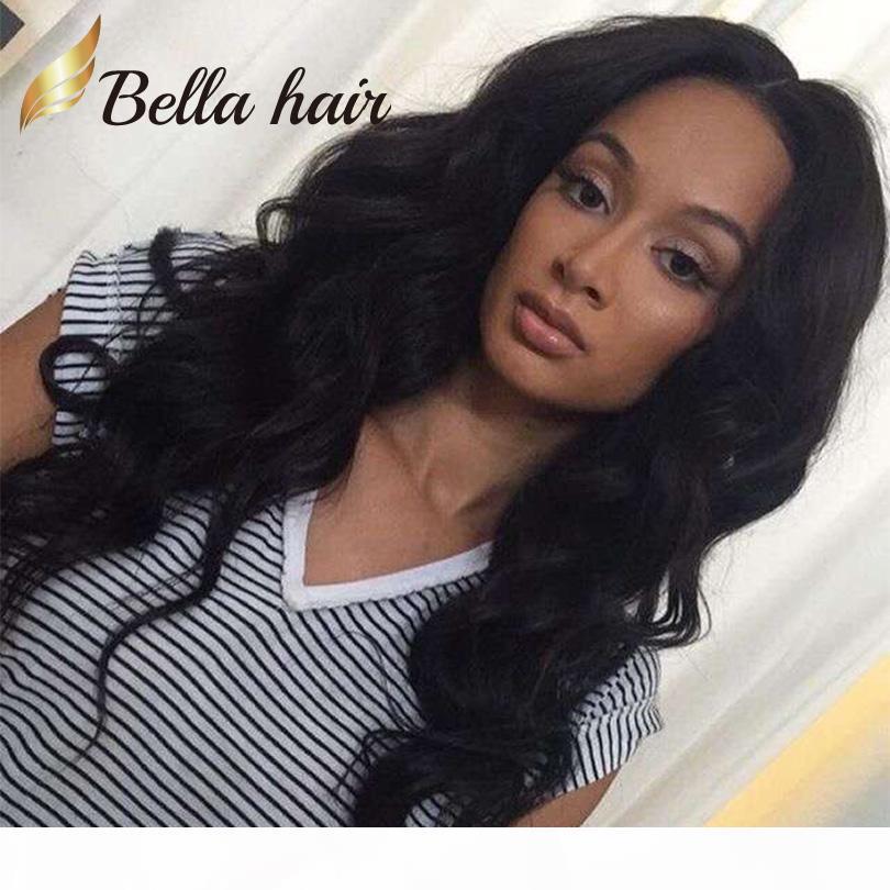 Saç Peruk Siyah Kadınlar Vücut Dalgalı Ön Tam Dantel Peruk Perulu Virgin İnsan Saç Bella Saç Ücretsiz Nakliye