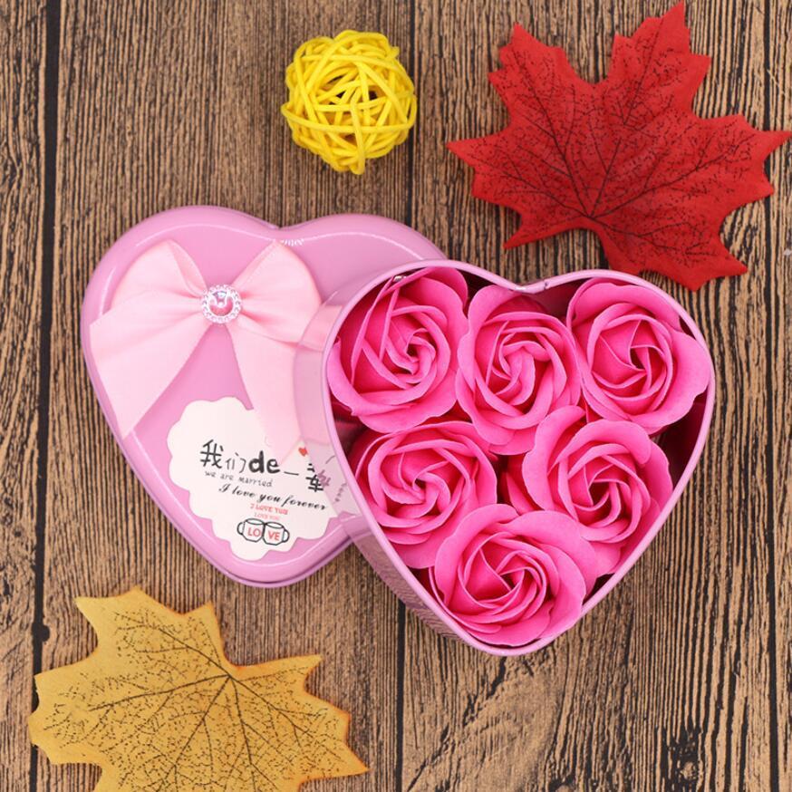 2021 Día de San Valentín Día 6 Flores Jabón Flor Regalo Rose Box Ramo Decoración de Boda Festival de Regalo Caja en forma de corazón DHL