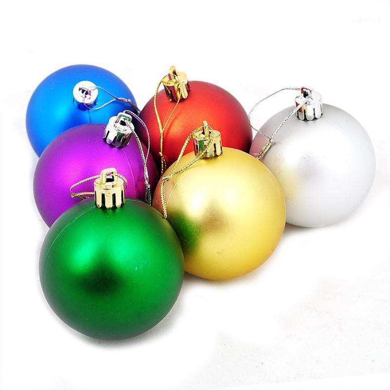 6 unids / set 4 cm 6 cm Árbol de Navidad Decoraciones Coloridas Bolas Colgando Fiesta de Navidad Ornamento de la boda Bolas de Navidad Decoraciones Mix1