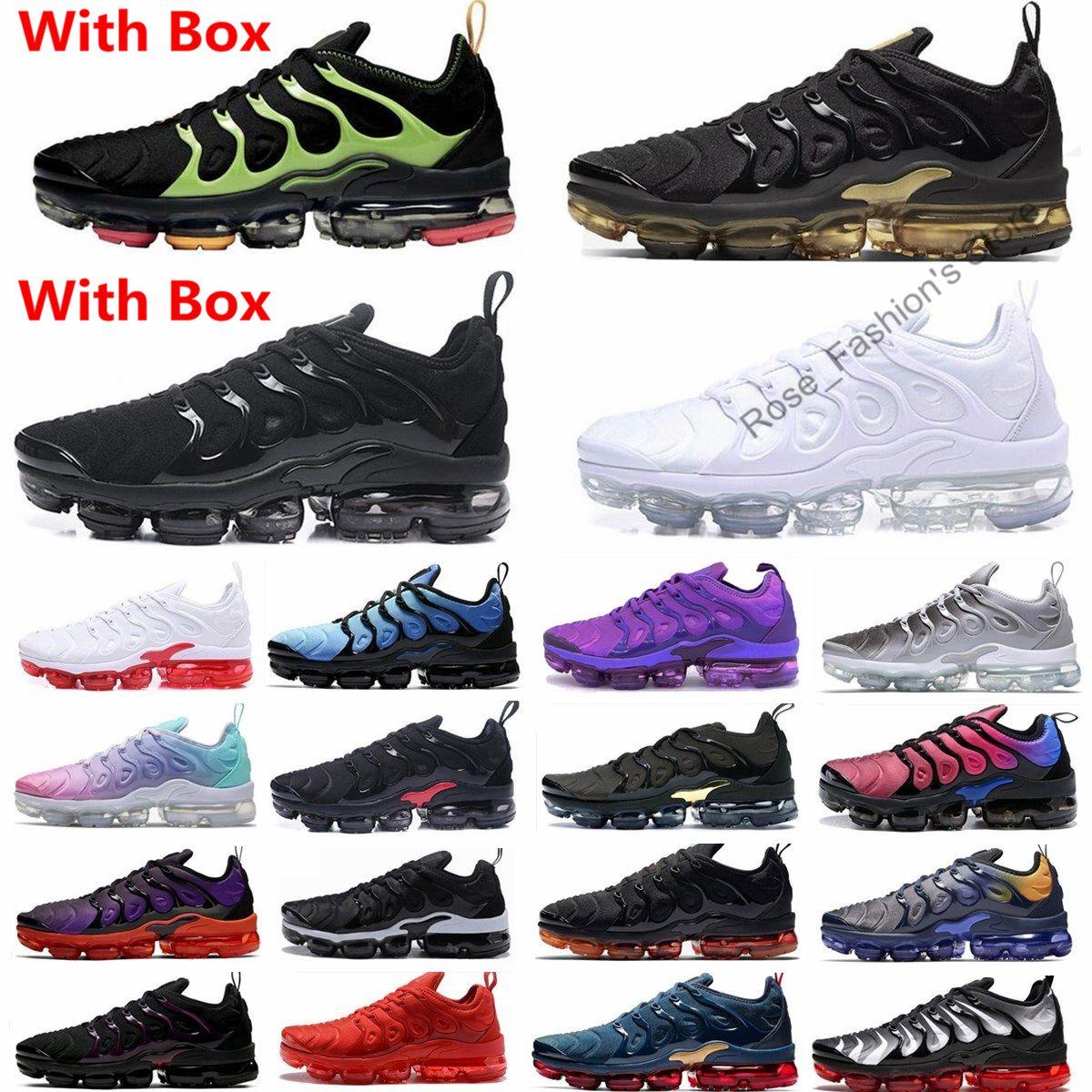2021 Nouveaux chaussures de sport Tn plus chaussures de course Triple noir 2020 Plus hommes Femmes Formatrices Aubergine Blanc Argent Volt SZ36-47 Baskets prix pas cher