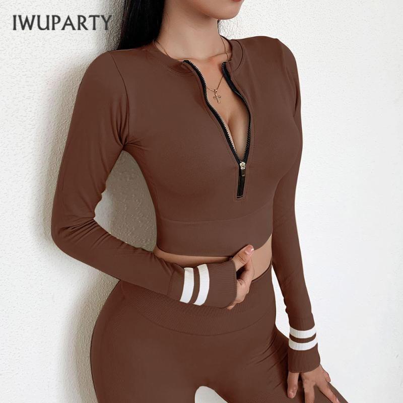 IWUPARTY New Mulheres Joga Gym Tops Shorts Define Zipper manga comprida Fatos Conjuntos Sportswear Jogging Suit cintura alta duração