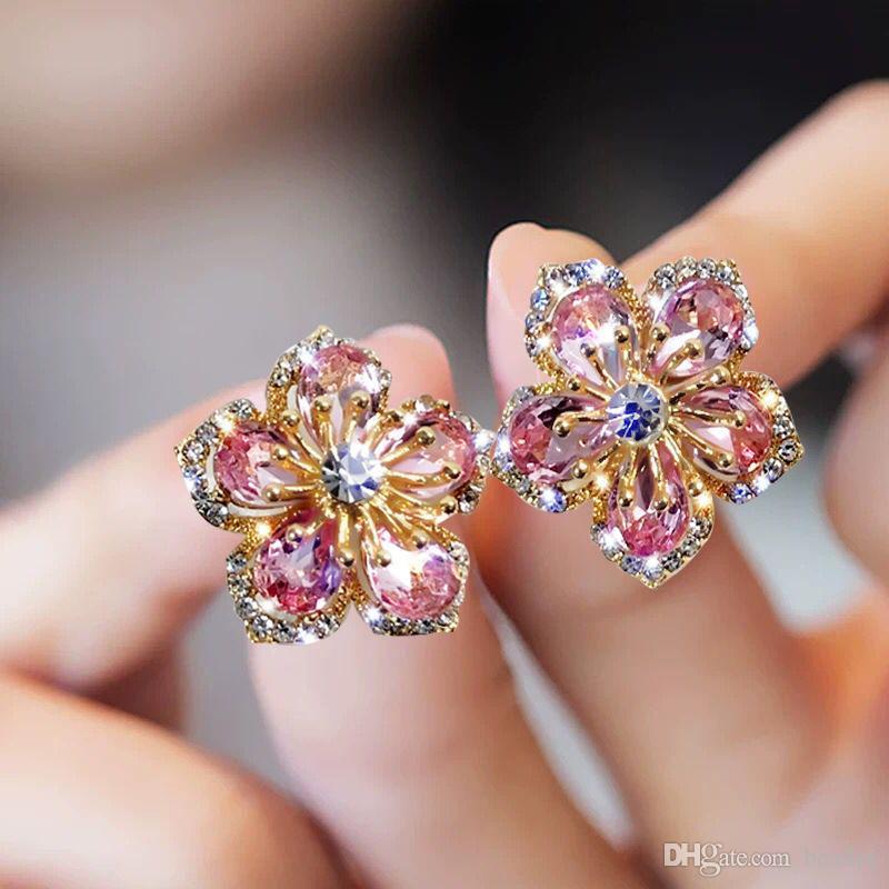 Declaración temperamento geométrica Pendientes circón cristal brillante de la flor linda nueva Corea del dulce para mujeres de la muchacha Pendientes