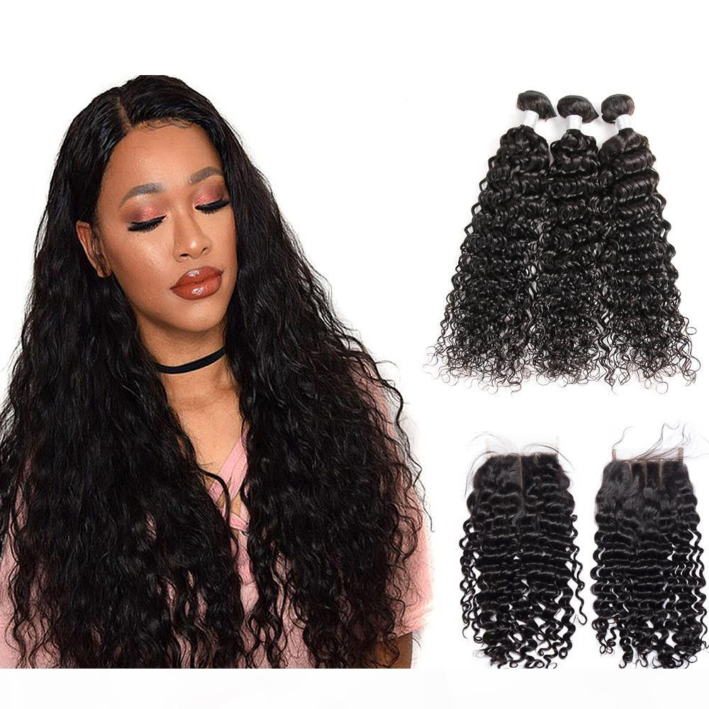8A Peruvian Inaian Brazilian Cuticle Aligned Hair Remy Human Hair Water Wave Bundles With Closure Hair Extensioon Dhgate