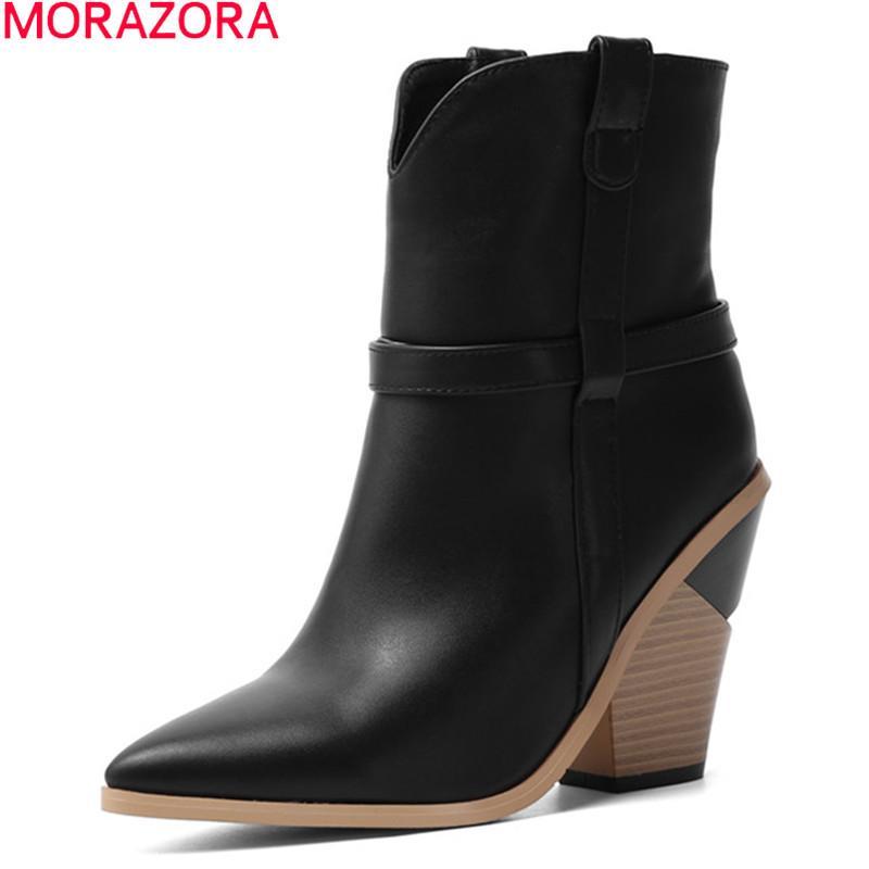 MORAZORA 2020 nueva venta caliente de las mujeres gruesas botas de tacones altos en punta del dedo del pie del tobillo botas de invierno negro damas Blanco footwaer 1026