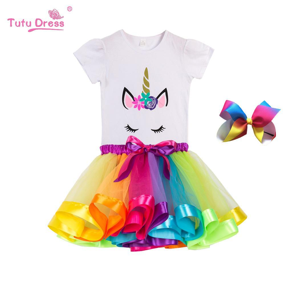 A001 2020 Girl Unicorn Tutu Dress Rainbow Princess T-shirt with Tutu Party Dress Toddler Baby 2 to 11 Years Birthday Outfits Kids Cloth