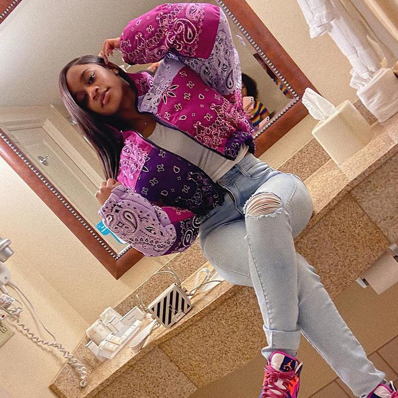 Mulheres vintage baiacu jaqueta bandana cópia bolha casaco moda mulher parkas inverno roupas mulheres 2020 outwear recortados