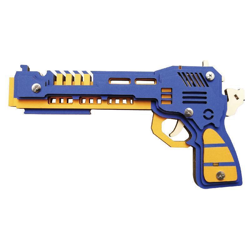 Puzzle 3D en bois arme de pistolet Modèle de pistolet Toy Machine Toy DIY Caoutchouc Band tireur Pistolet Pistolet avec balles jouet pour adolescents garçon